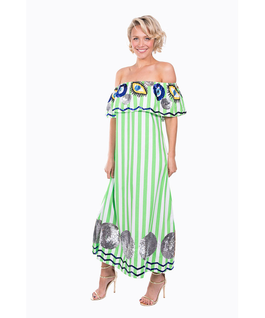 The Green and White Striped Evil Eye Off The Shoulder Dress