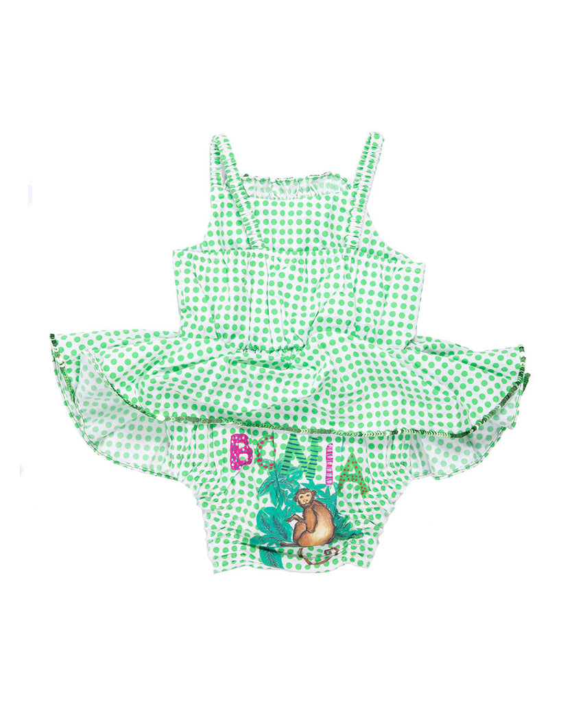 The Green Polkadot Monkey Bloomer Jump Dress by Bonita Bambino