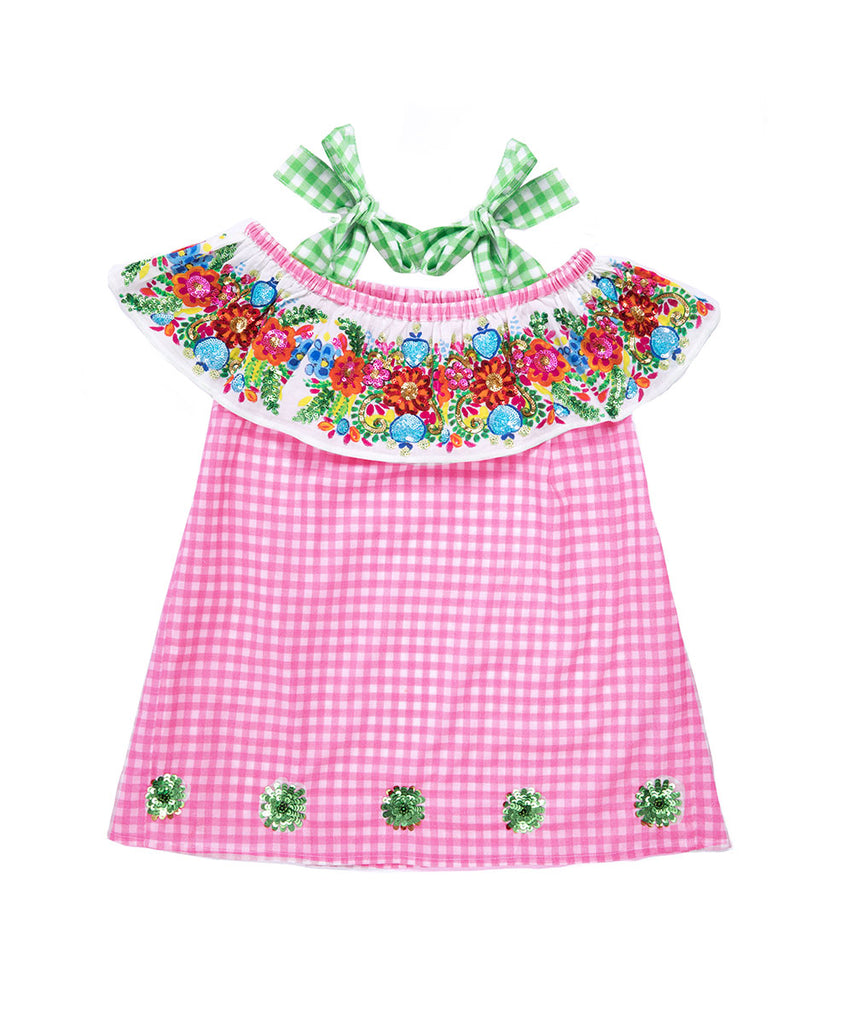 The Hot Pink Gingham Frill Off The Shoulder Dress by Bonita Bambino