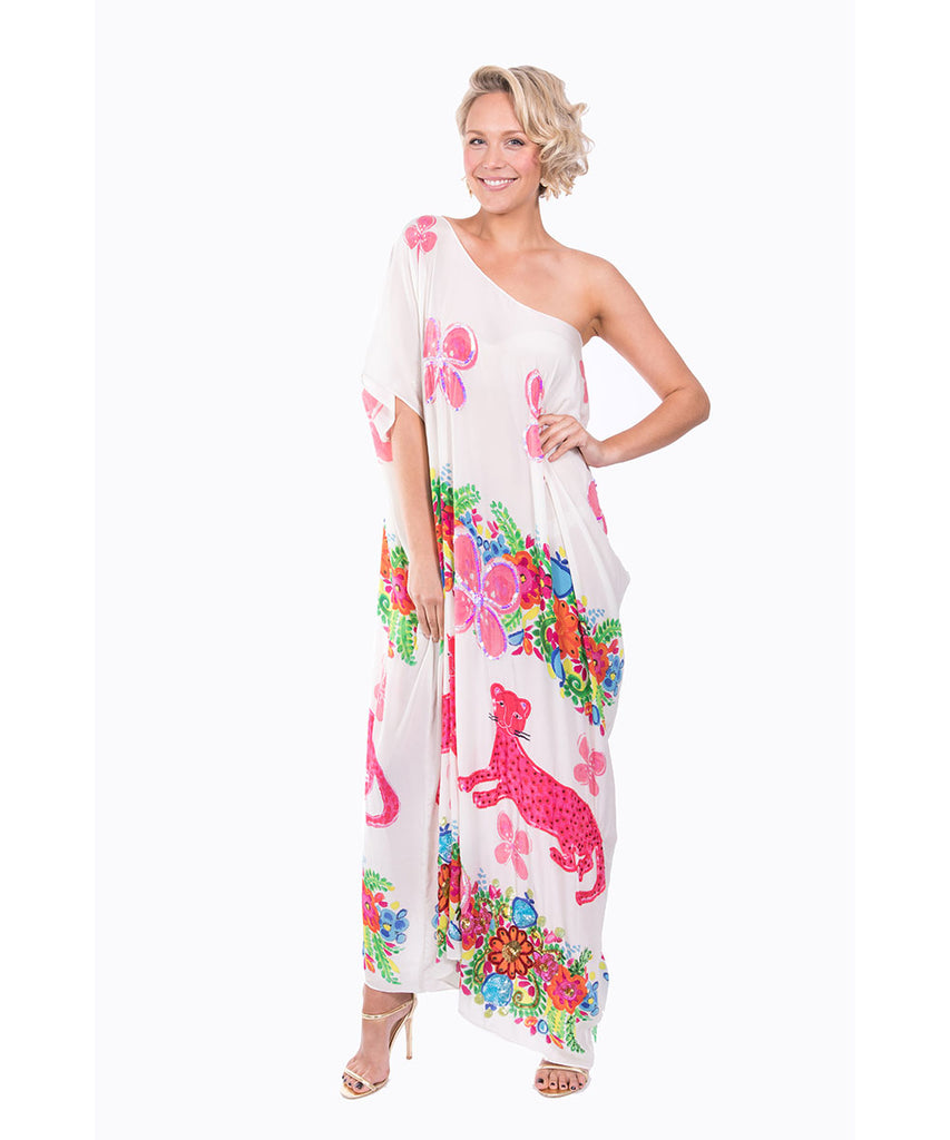 The White Floral Cheetah Kaftan (Long) by Bonita Kaftans