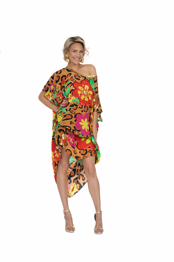 Leopard Blossom Kaftan (Long) by Bonita Collective