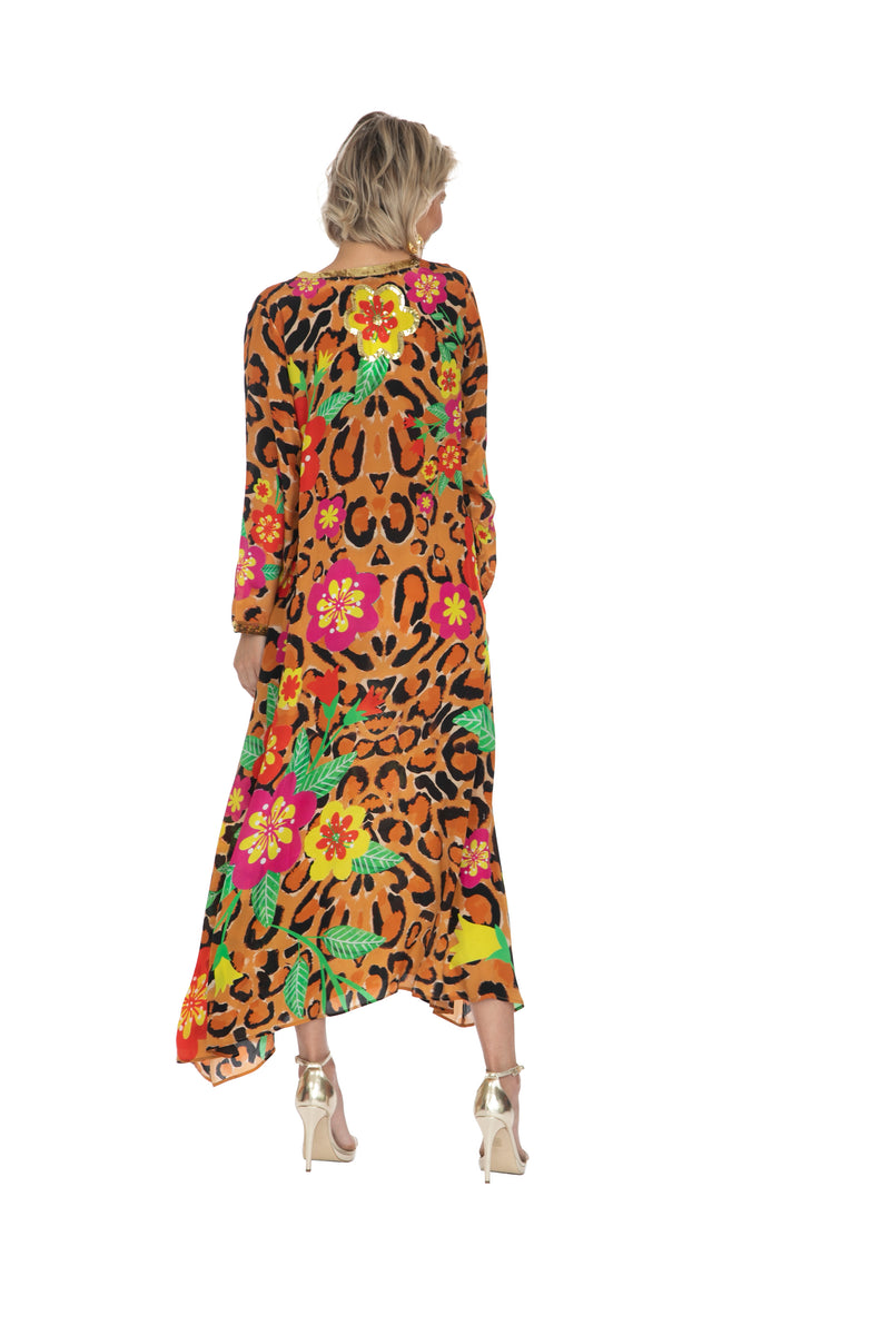 Leopard Blossom Long Sleeve Kaftan by Bonita Collective