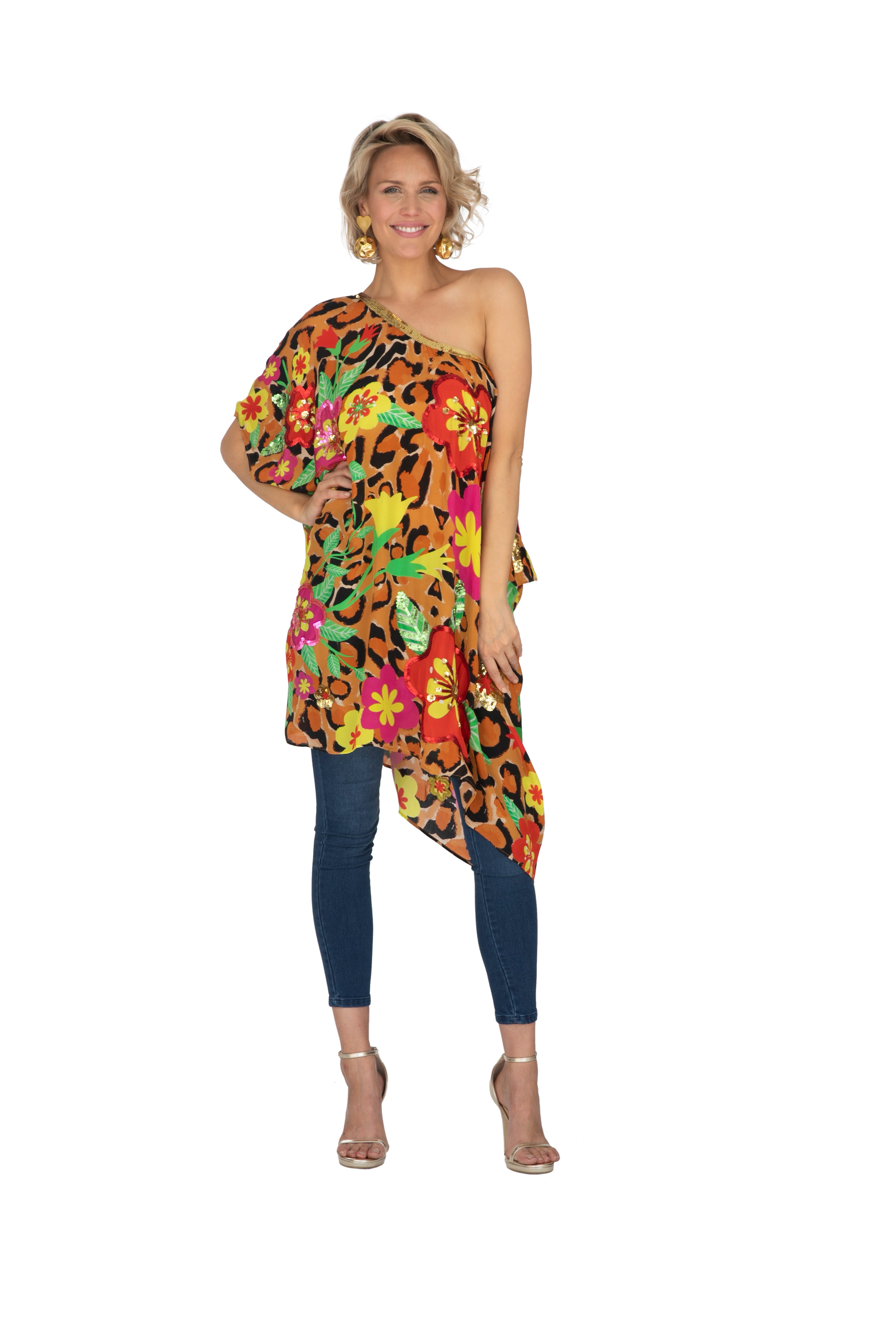 Leopard Blossom Kaftan (Short) by Bonita Collective