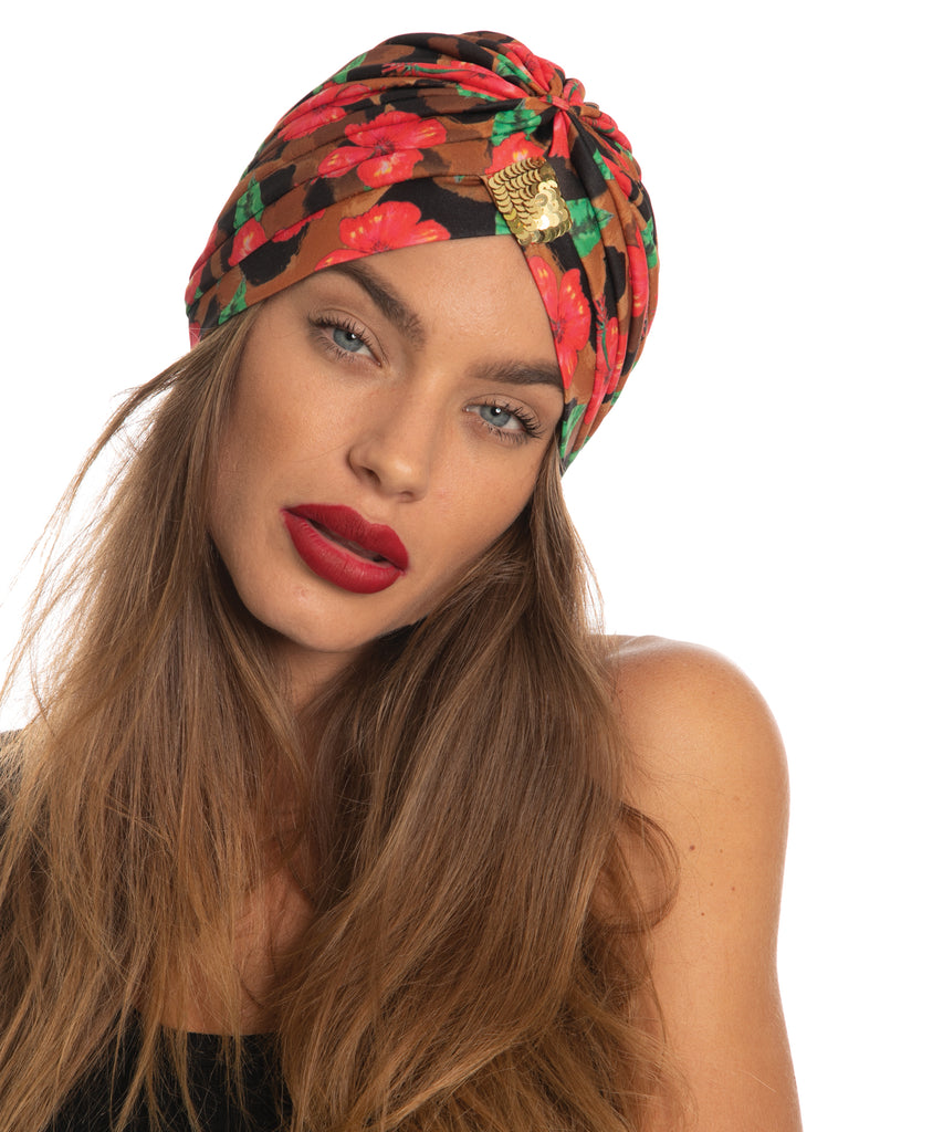 The Hibiscus Leopard Turban by Bonita Kaftans