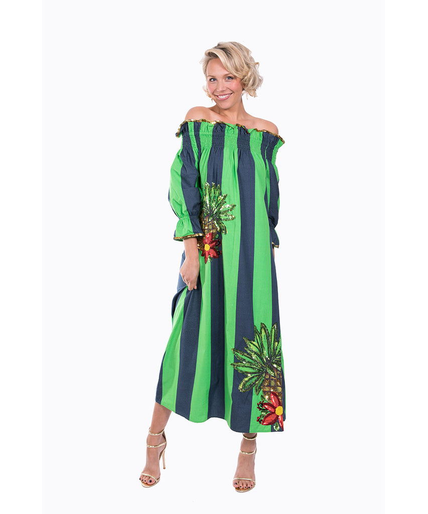 The Navy and Green Imperial Tropicana Dress by Bonita Kaftans