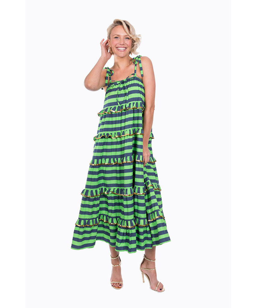 The Navy and Green Scalloped Imperial Dress by Bonita Kaftans