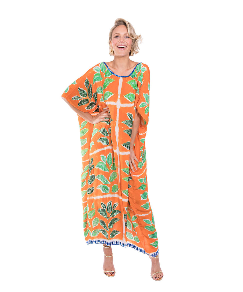 The Orange Leaf Kaftan (Long) by Bonita Kaftan