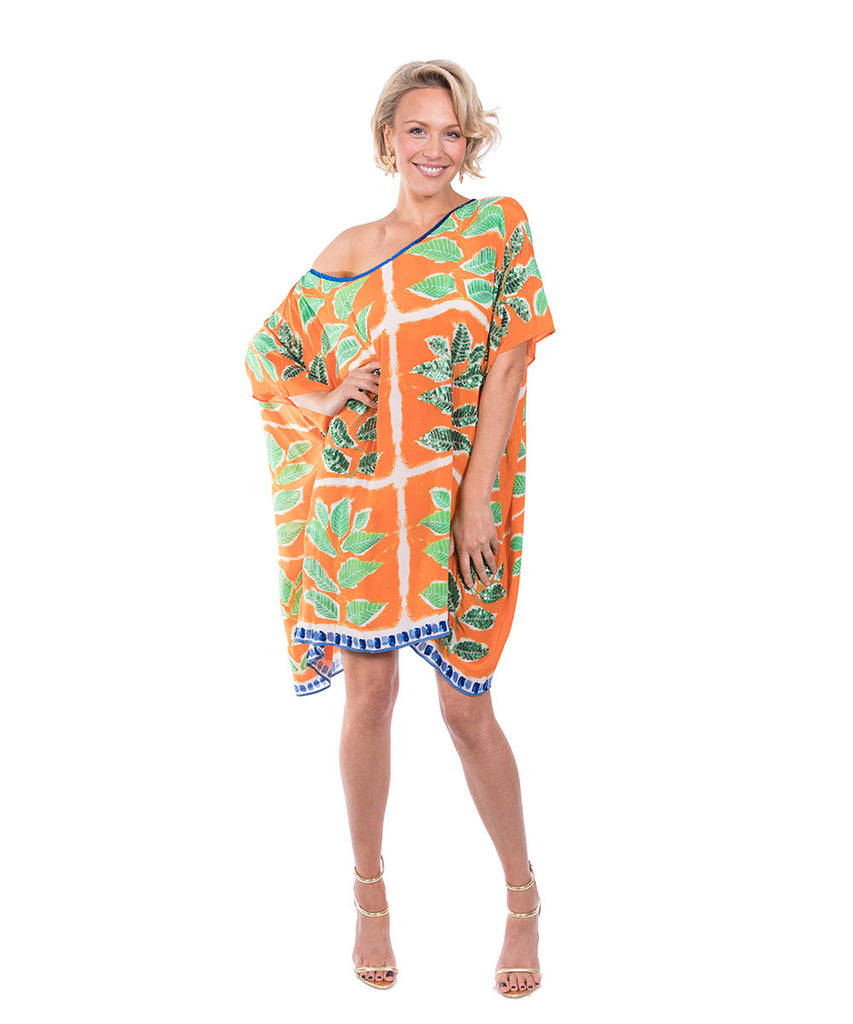 The Orange Leaf Kaftan (Short) by Bonita Kaftan