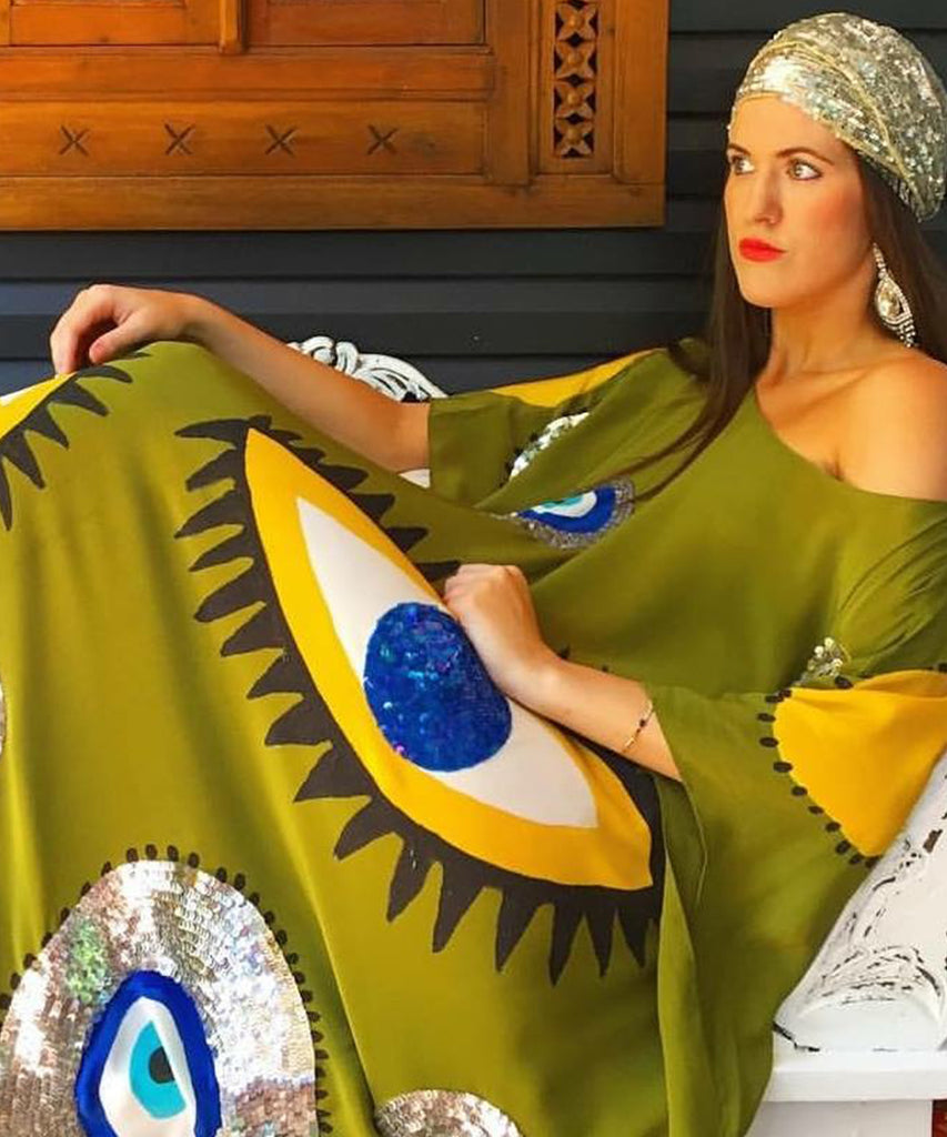 The Olive Evil Eye Kaftan