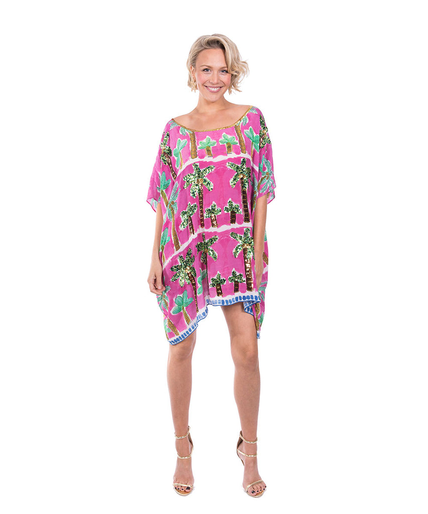 The Pink Palm Kaftan (Short) by Bonita Kaftans