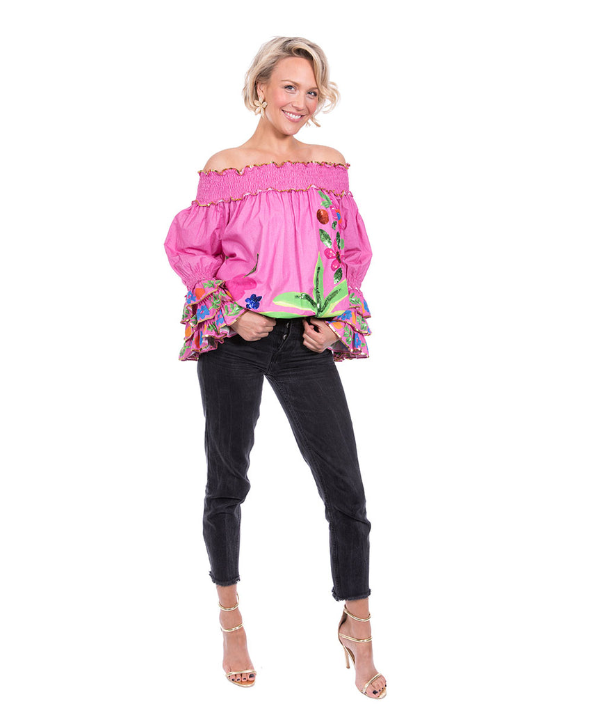 The Pink Tropical Valley Ruffle Top by Bonita Kaftans