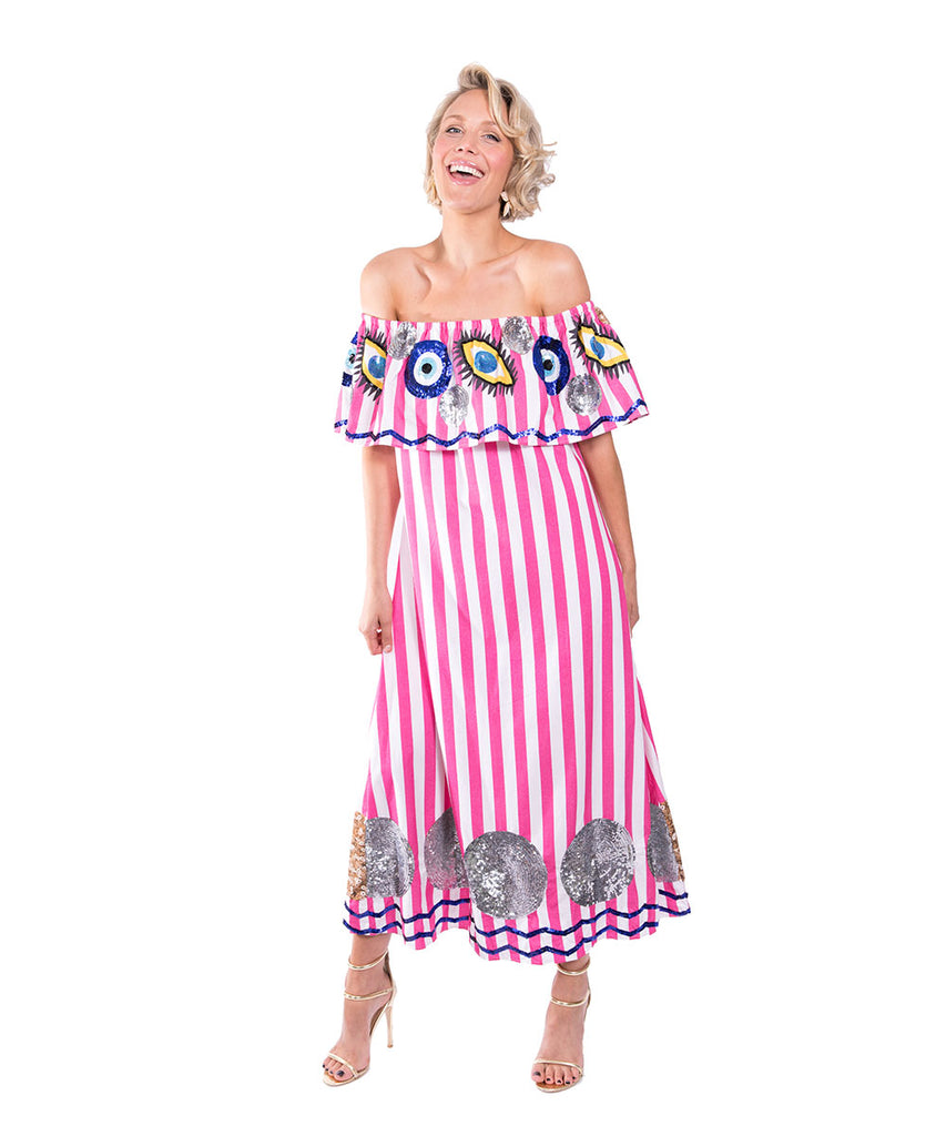 The Pink and White Striped Evil Eye Off The Shoulder Dress