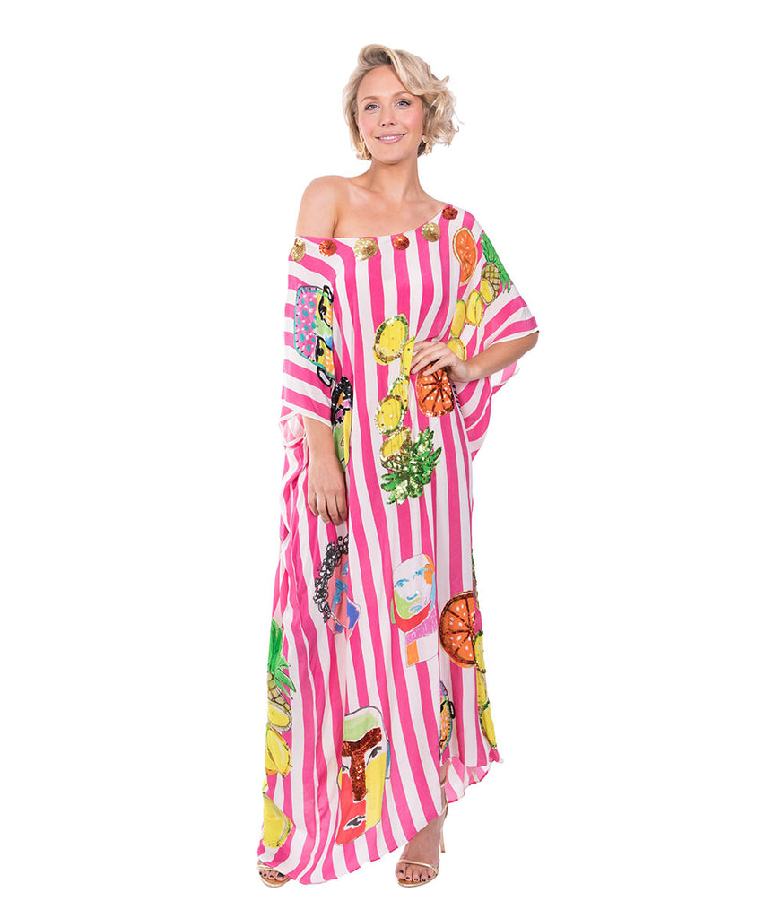 The Pink and White Striped Portrait Kaftan by Bonita Kaftans