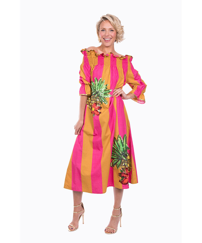 The Pink and Yellow Imperial Tropicana Dress by Bonita Kaftans