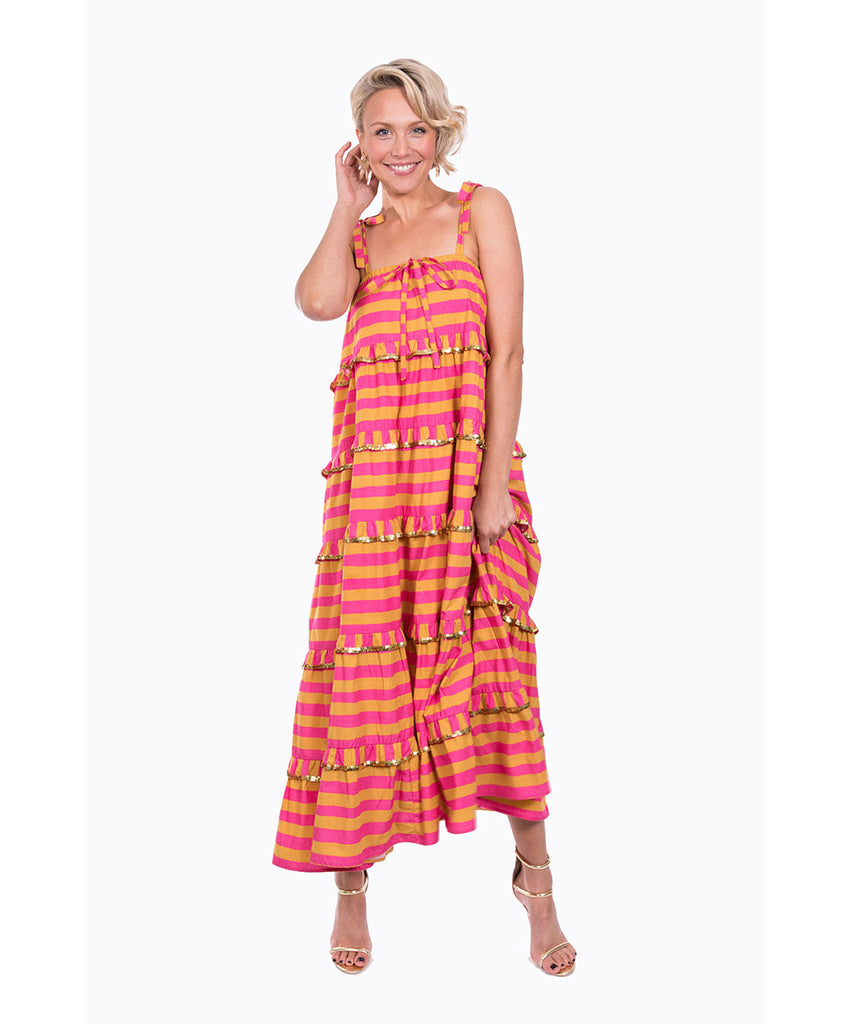 The Pink and Yellow Scalloped Imperial Dress by Bonita Kaftans