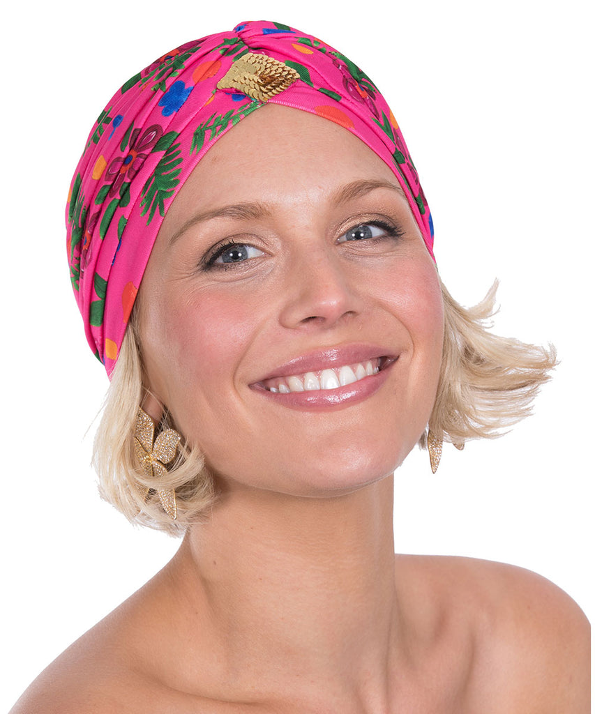 The Pink Tropical Valley Turban by Bonita Kaftans