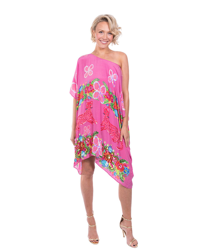 The Pink Floral Cheetah Kaftan (Short) by Bonita Kaftan