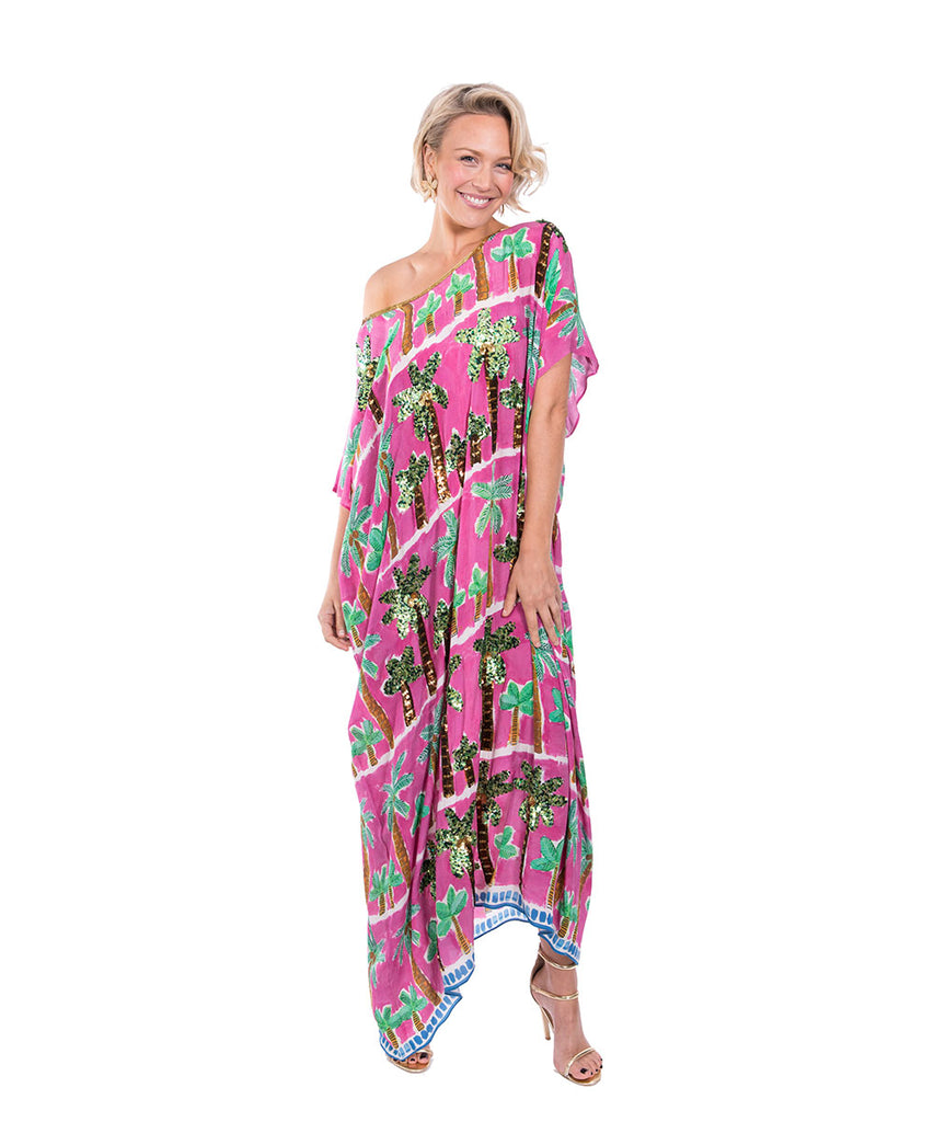 The Pink Palm Kaftan (Long) by Bonita Kaftans
