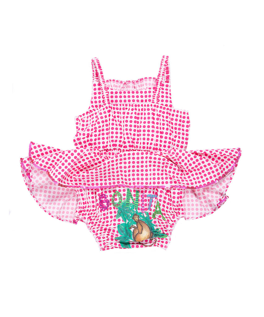 The Pink Polkadot Monkey Bloomer Jump Dress by Bonita Bambino