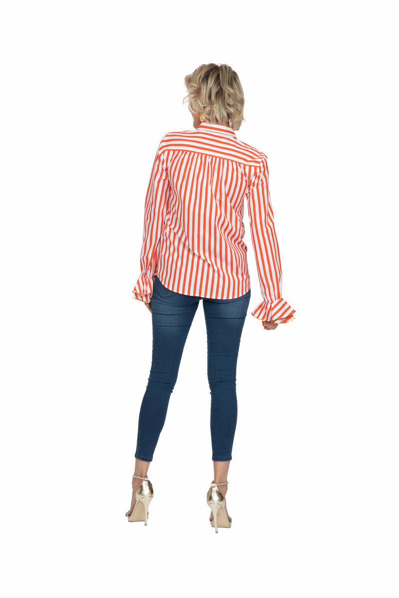Red Striped Crayon Ruffle Shirt by Bonita Collective