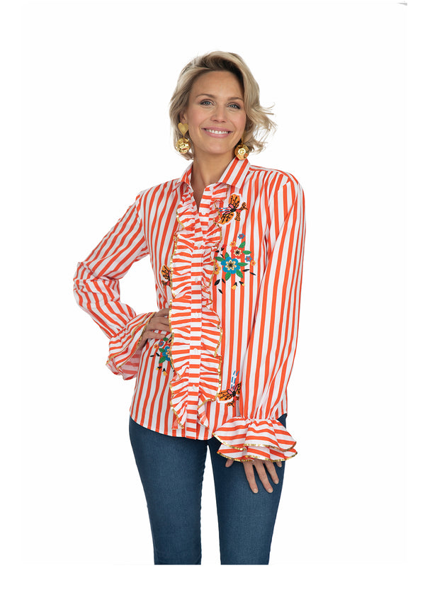 Red Stripe Crayon Ruffle Shirt by Bonita Collective