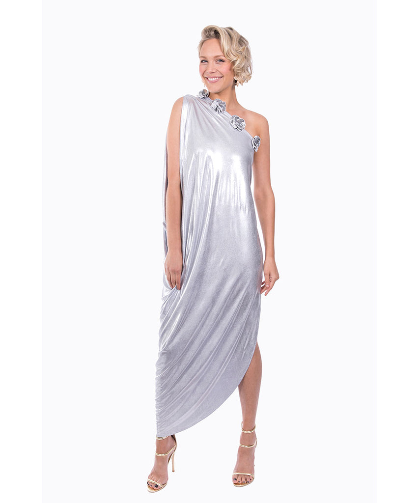 The Silver Cleopatra One Shoulder Dress by Bonita Kaftans