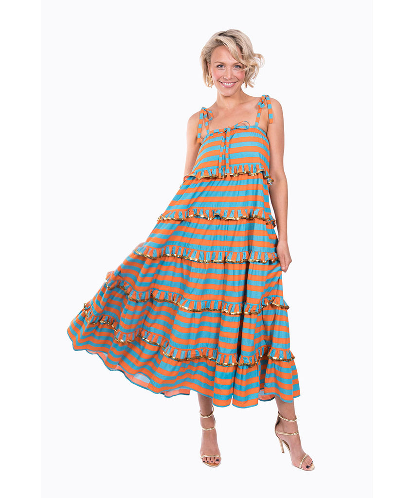 The Turquoise and Orange Scalloped Imperial Dress by Bonita Kaftans