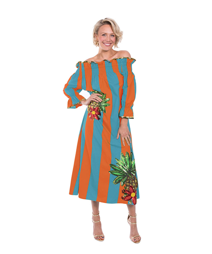 The Turquoise and Orange Imperial Tropicana Dress by Bonita Kaftans