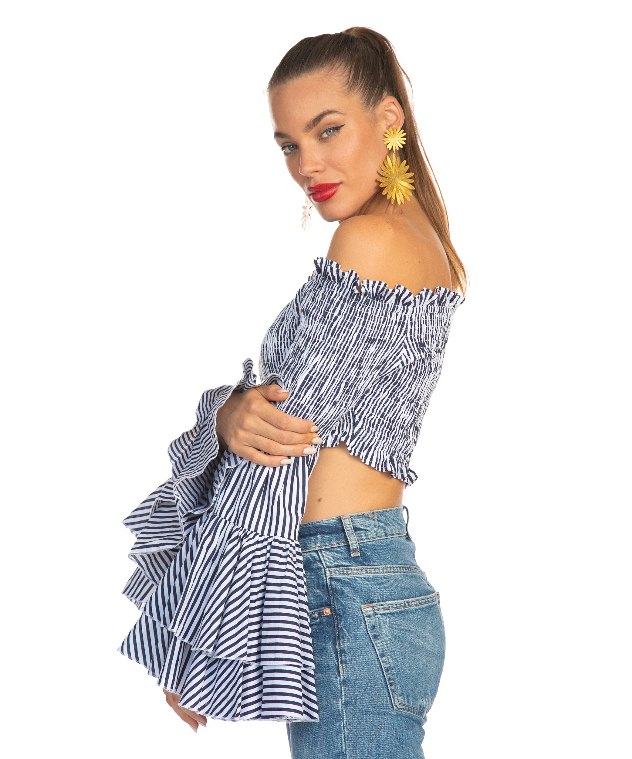 The Blue and White Stripe Salsa Top by Bonita Collective