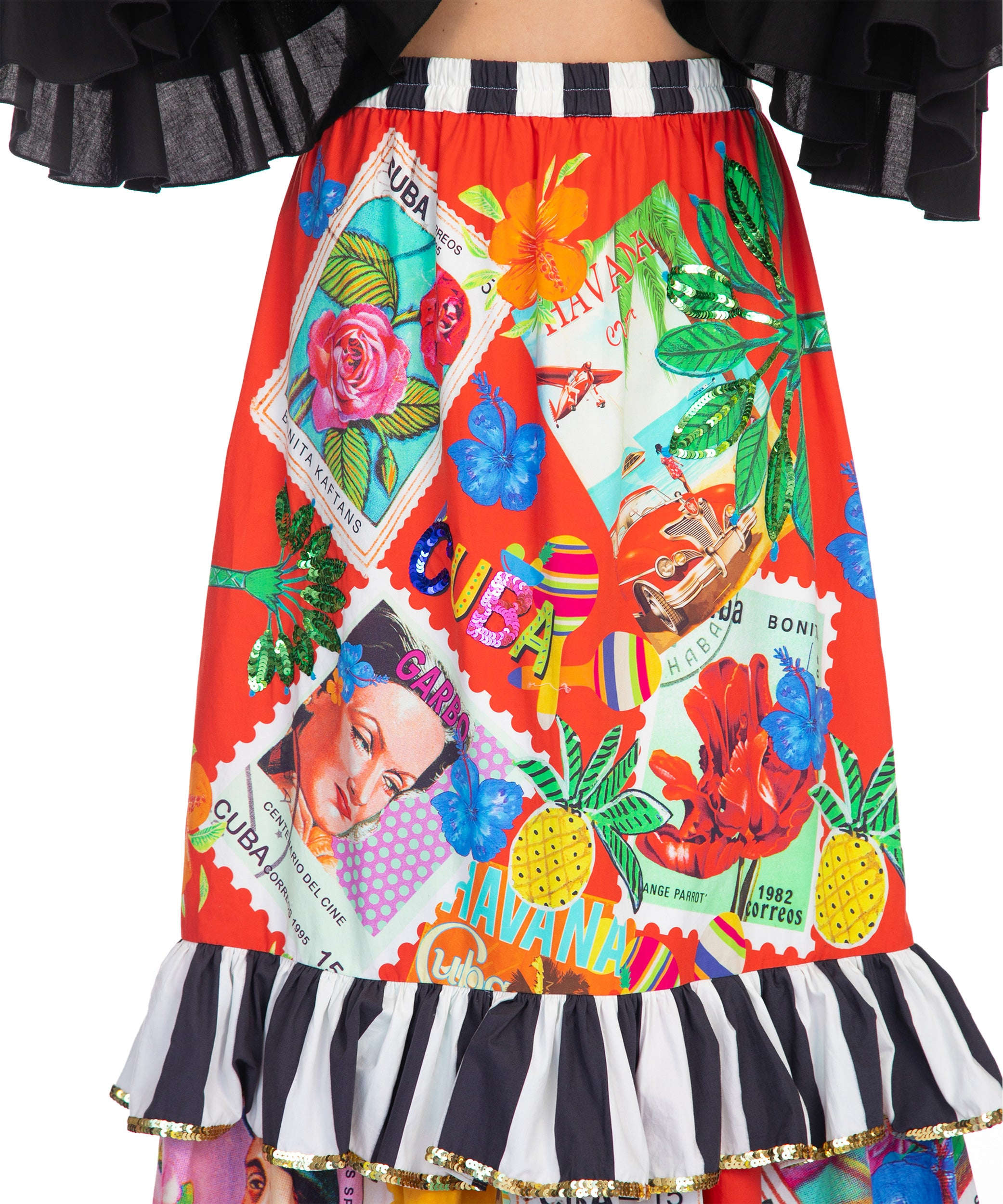 The Cuban Stamp Slimline Ruffle Skirt by Bonita Collective