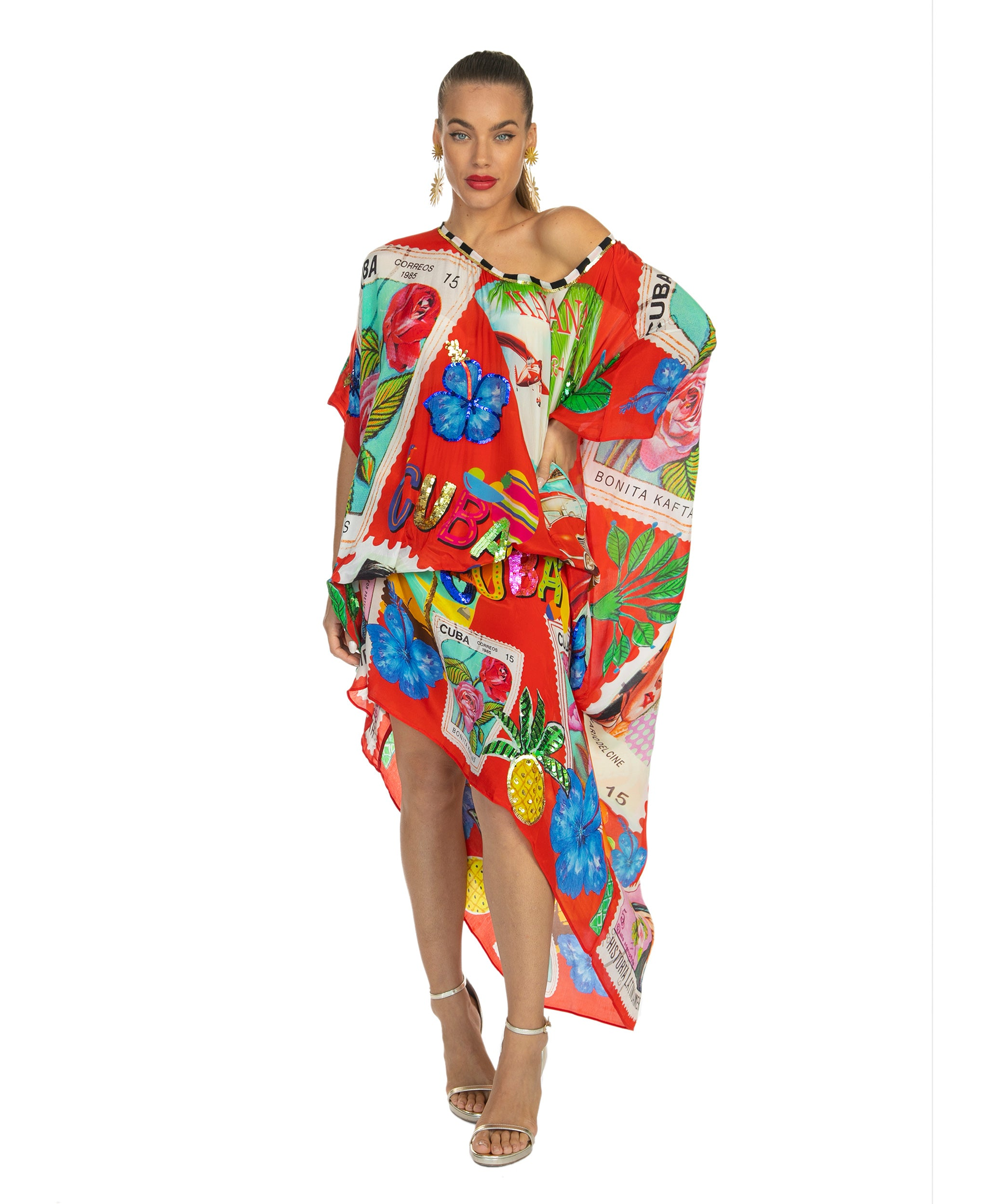 The Red Cuban Stamp Kaftan by Bonita Collective