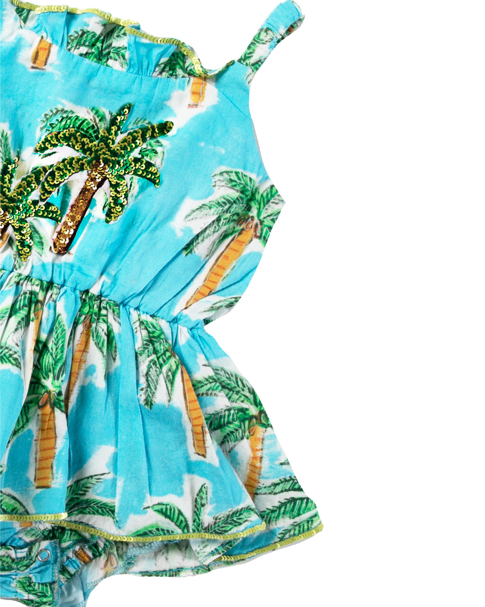 The Aqua Palm Baby Jump Dress by Bonita Bambino - DETAIL