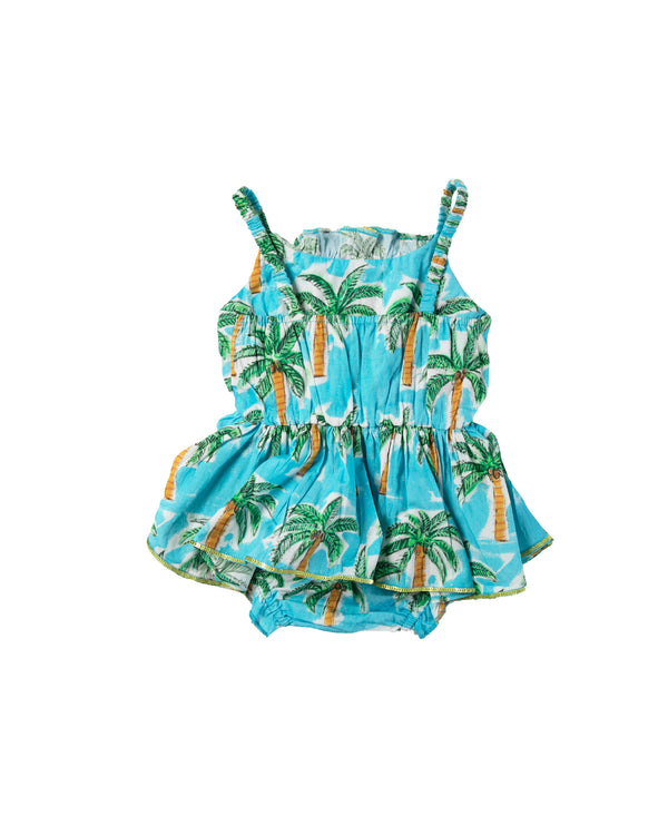 The Aqua Palm Baby Jump Dress by Bonita Bambino - BACK