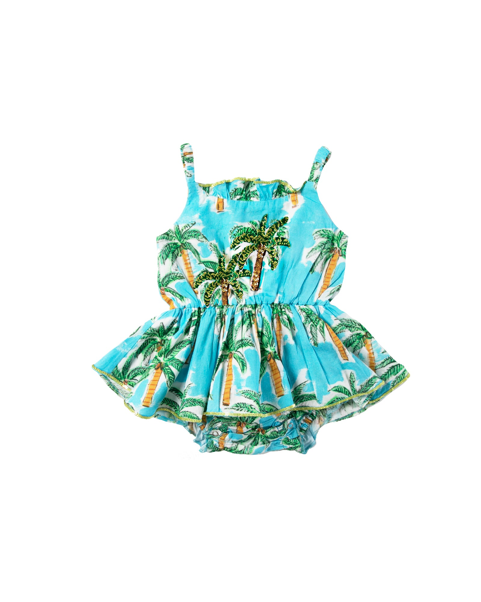 The Aqua Palm Baby Jump Dress by Bonita Bambino - FRONT
