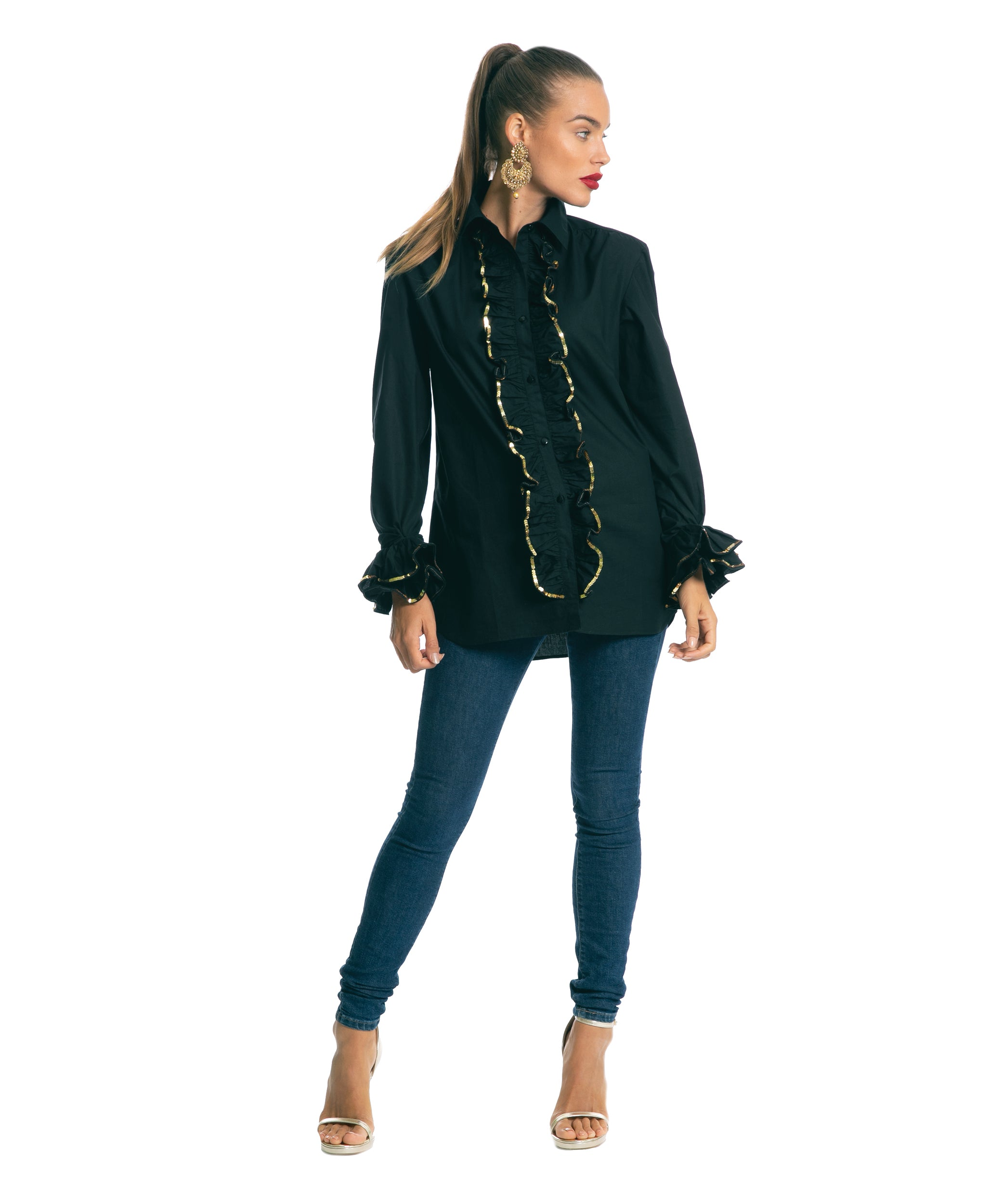 The Black Sequinned Ruffle Shirt by Bonita Kaftans