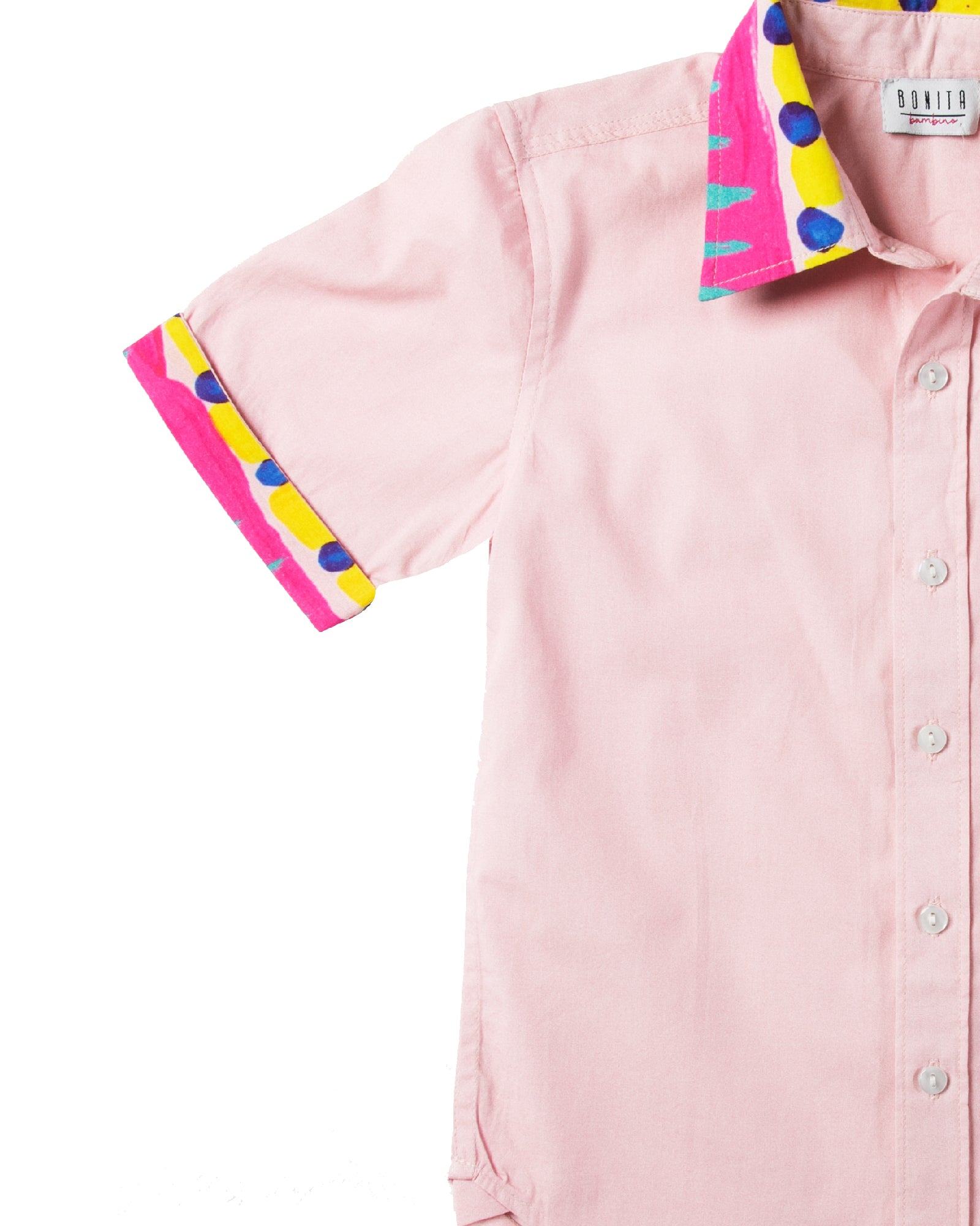 The Boys Electric Pink Party Shirt by Bonita Bambino - DETAIL