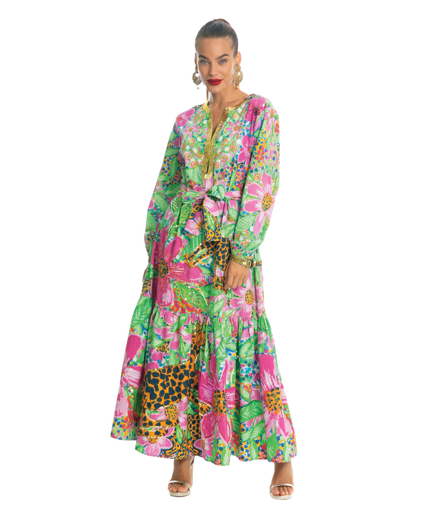 The Floral Cheetah Long Sleeved Dress