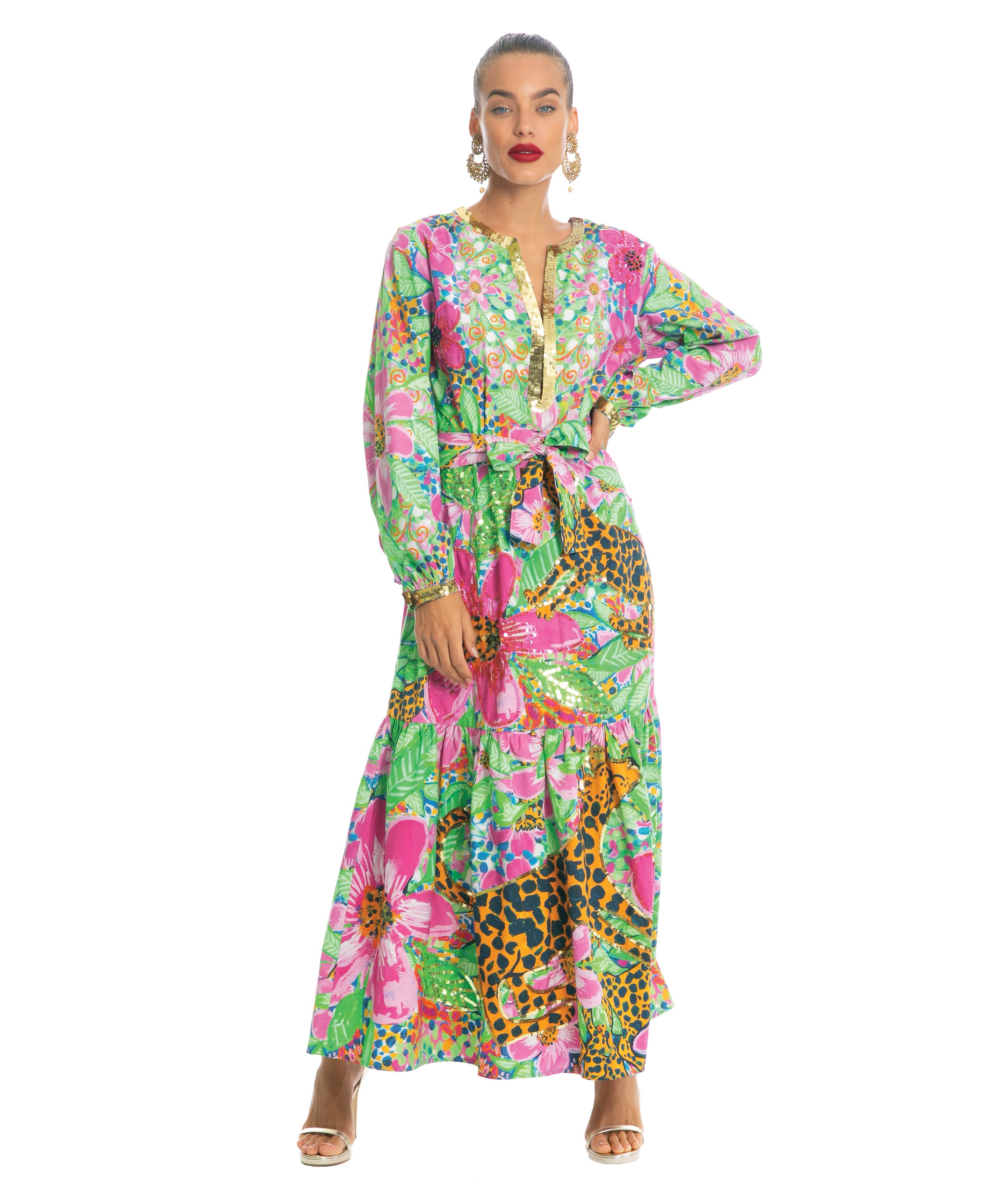 The Floral Cheetah Long Sleeved Dress by Bonita Kaftans