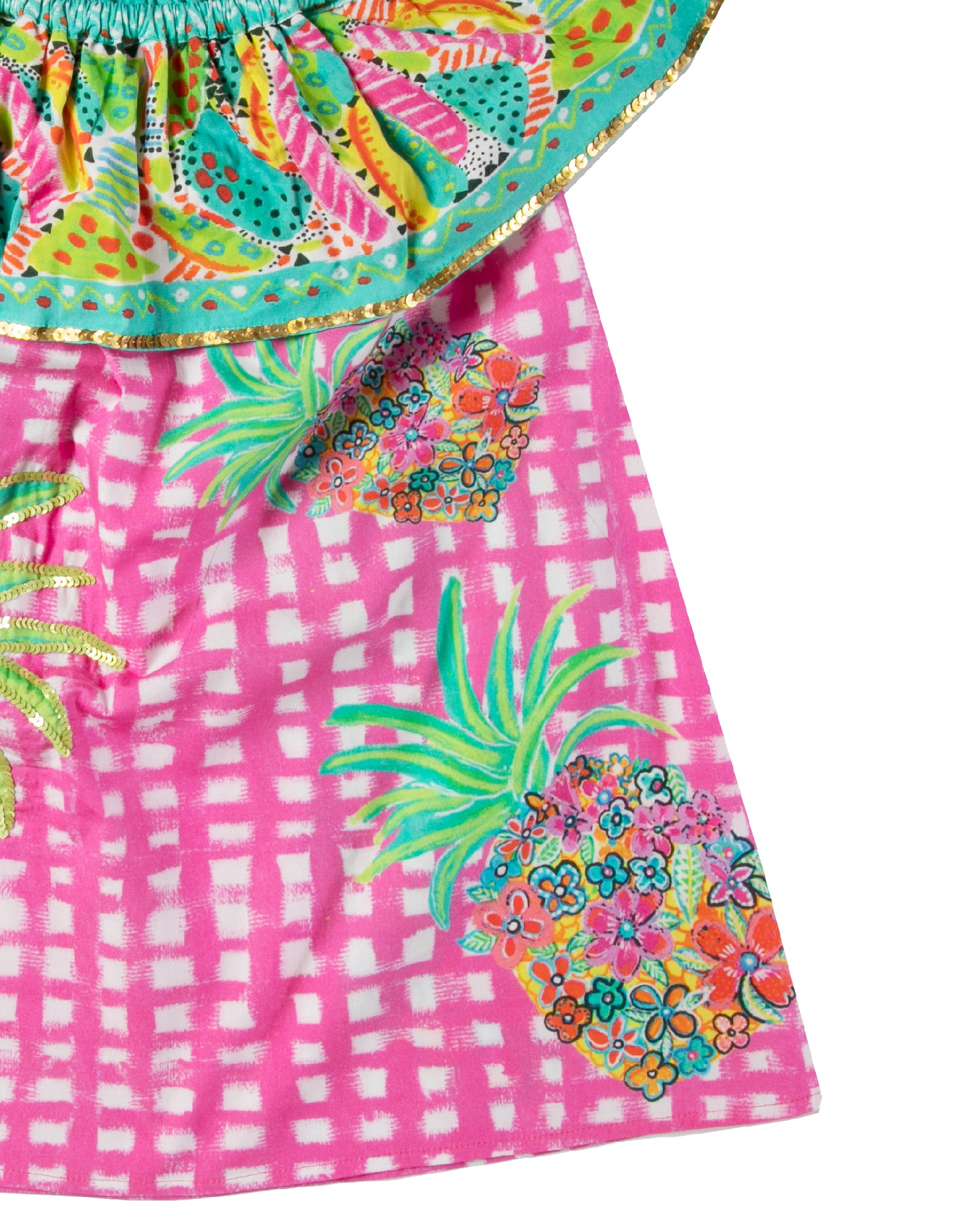 The Floral Pineapple OTS Girls Dress by Bonita Bambino - Detail
