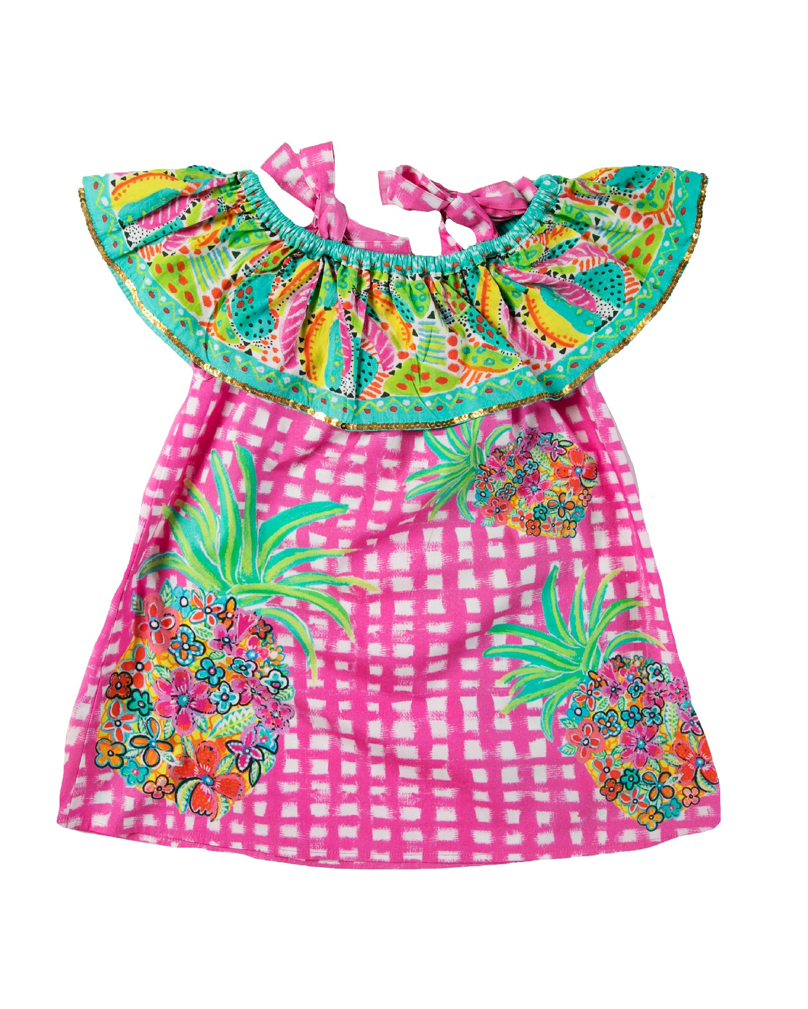 The Floral Pineapple OTS Girls Dress by Bonita Bambino - Back