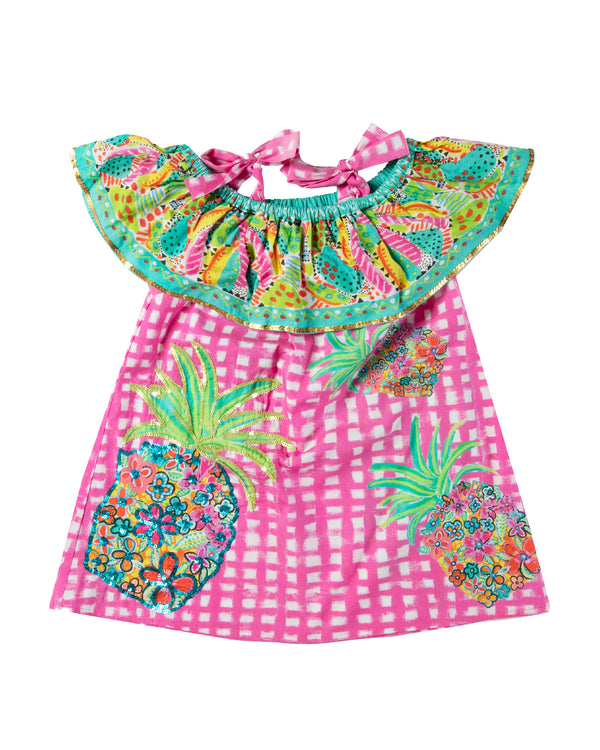 The Floral Pineapple OTS Girls Dress by Bonita Bambino - Front
