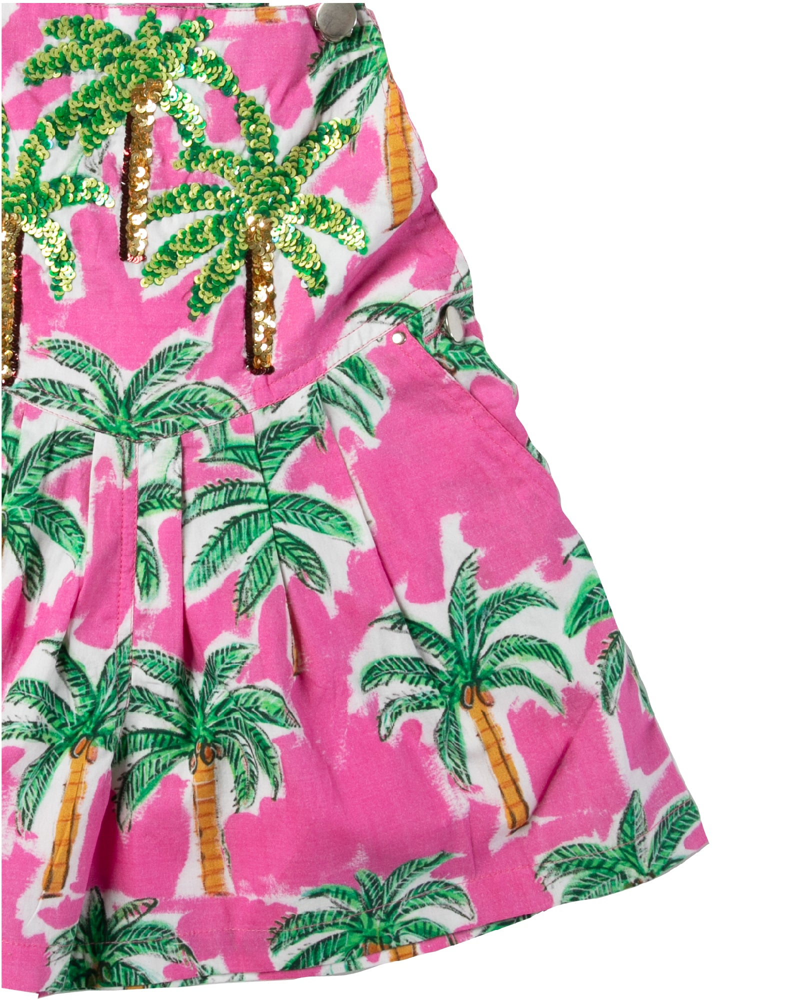 The Hot Pink Palm Kids Overalls by Bonita Bambino - DETAIL