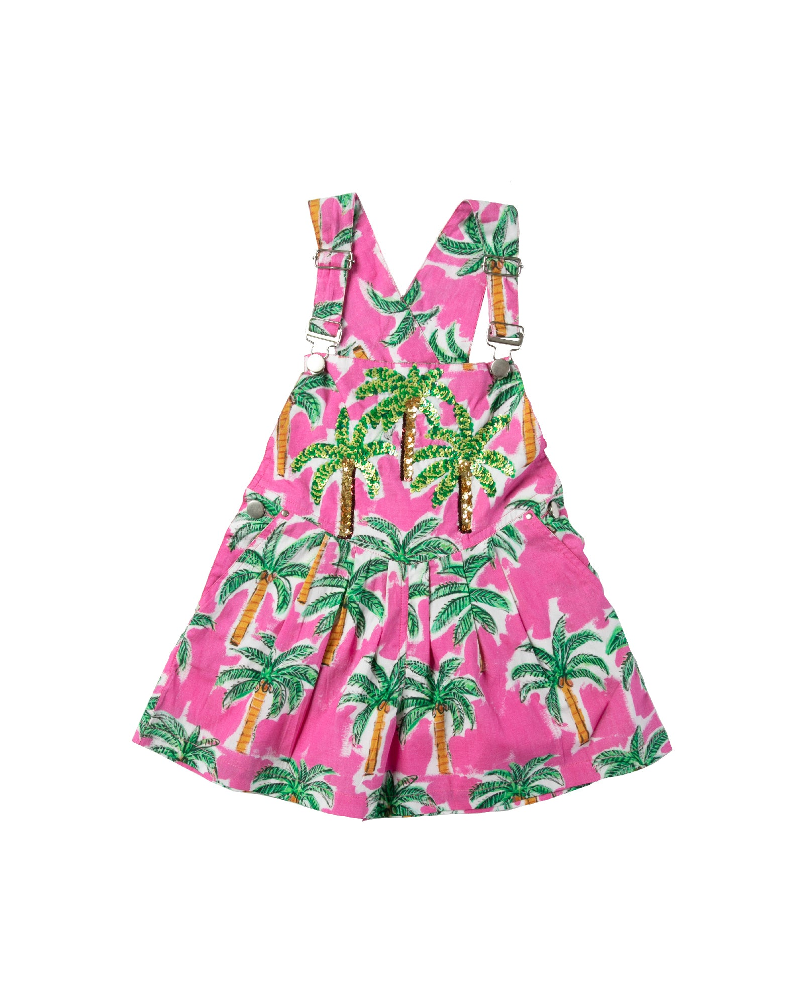 The Hot Pink Palm Kids Overalls by Bonita Bambino - FRONT