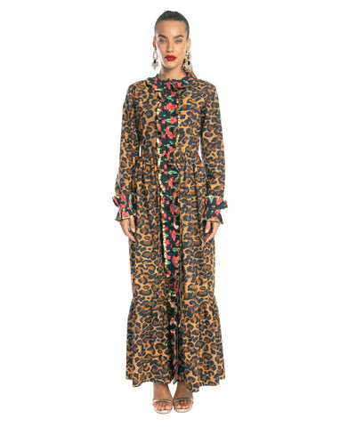 The Jungle Long Sleeve Ruffle Dress by Bonita Kaftans
