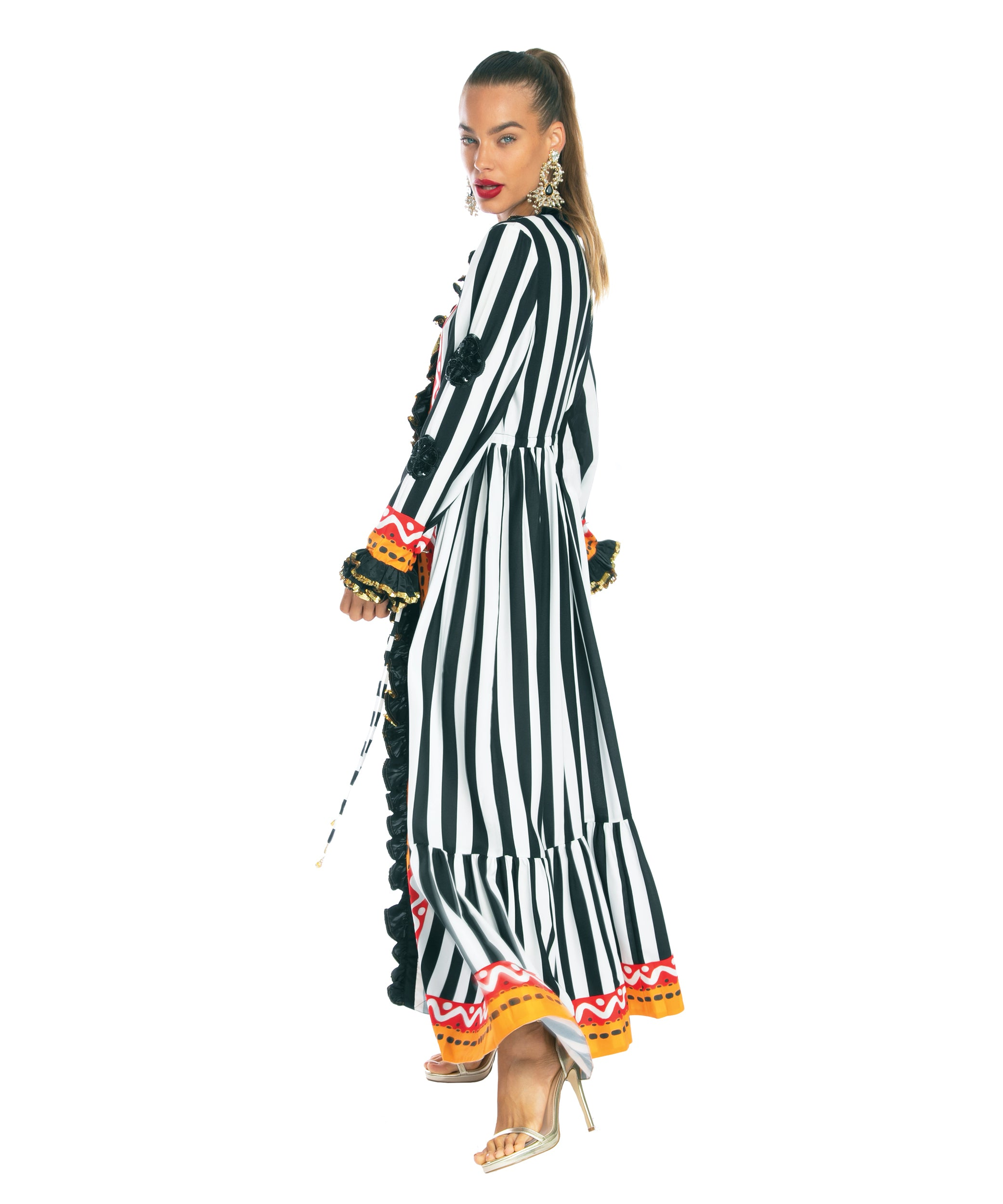 The Tribal Long Sleeved Ruffle Dress by Bonita Kaftans