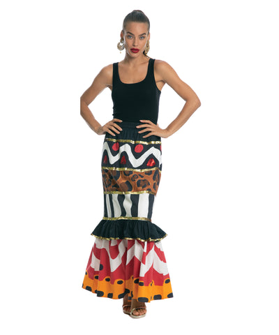 The Tribal Slimline Ruffle Skirt by Bonita Kaftans