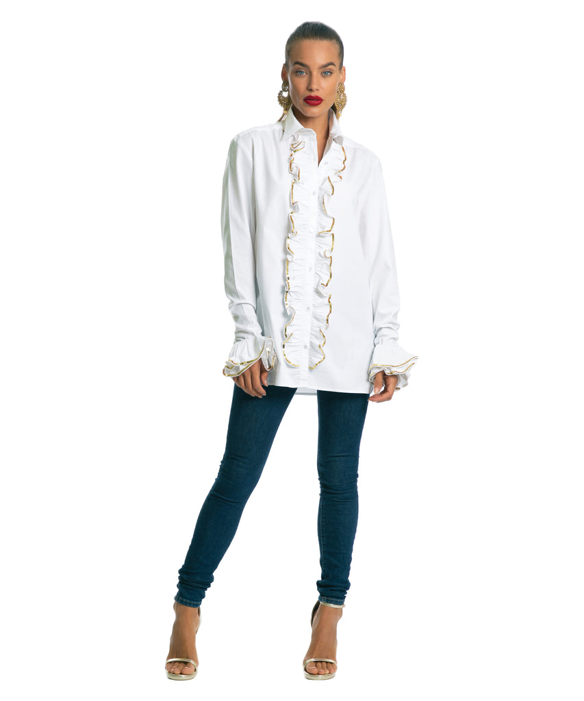 The White Sequinned Ruffle Shirt by Bonita Kaftans