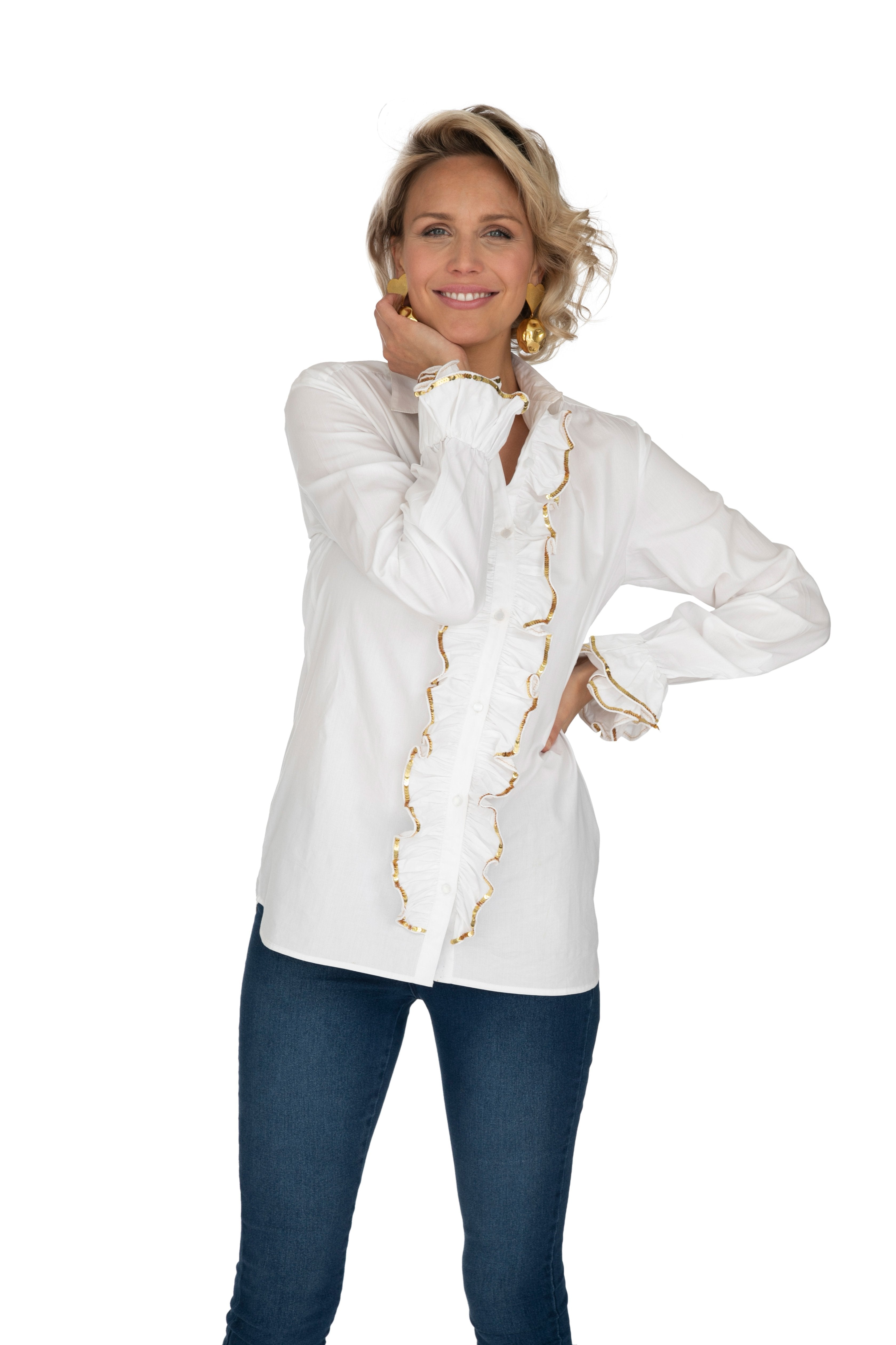 White Sequinned Ruffle Shirt by Bonita Collective