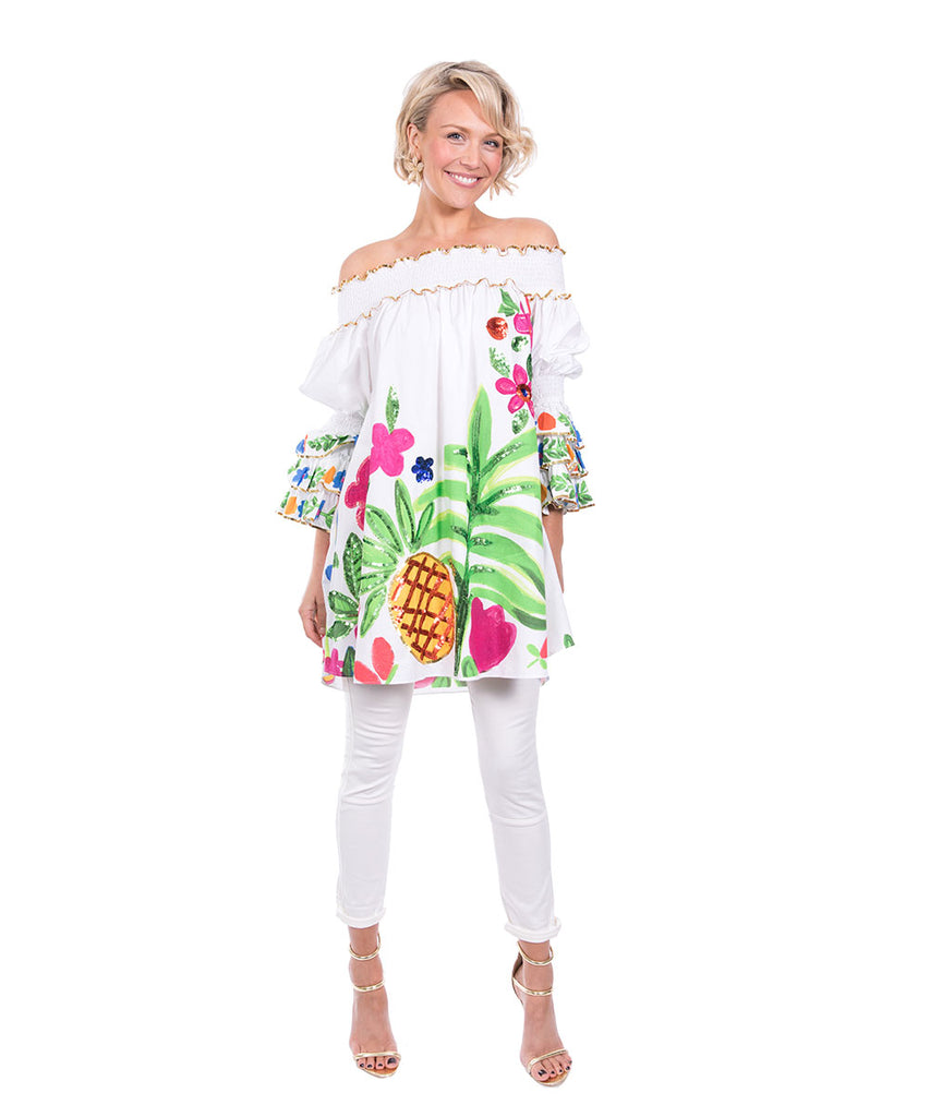 The White Tropical Valley Ruffle Top by Bonita Kaftans