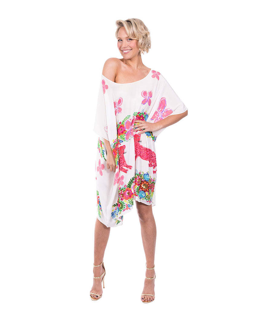 The White Floral Cheetah Kaftan (Short) by Bonita Kaftans